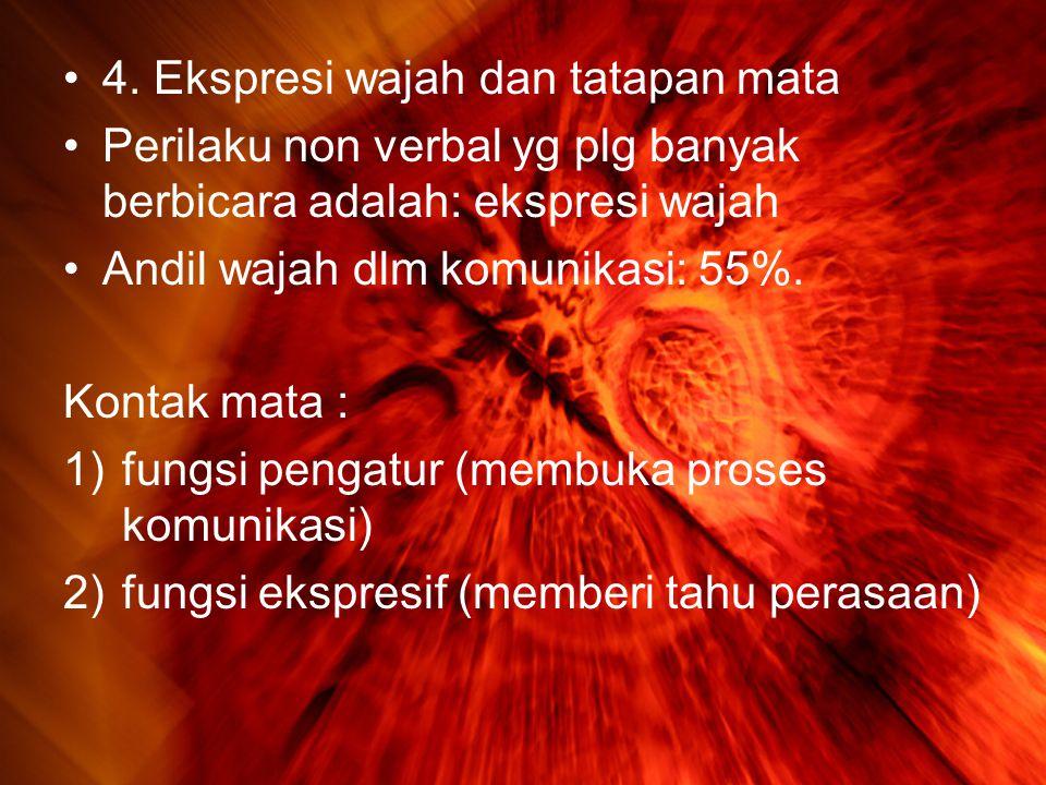 •4. Ekspresi wajah dan tatapan mata •Perilaku non verbal yg plg banyak berbicara adalah: ekspresi wajah •Andil wajah dlm komunikasi: 55%. Kontak mata