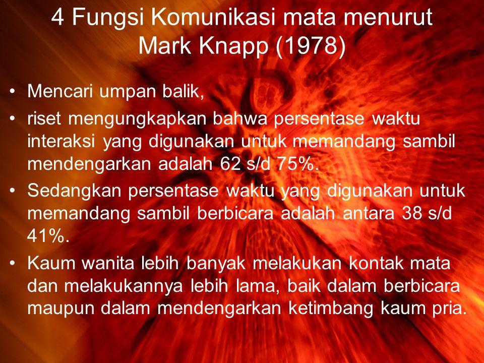 4 Fungsi Komunikasi mata menurut Mark Knapp (1978) •Mencari umpan balik, •riset mengungkapkan bahwa persentase waktu interaksi yang digunakan untuk memandang sambil mendengarkan adalah 62 s/d 75%.