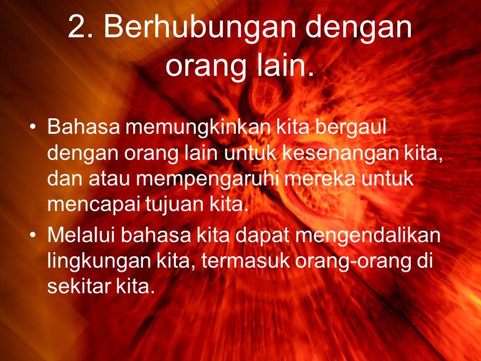 2.Berhubungan dengan orang lain.