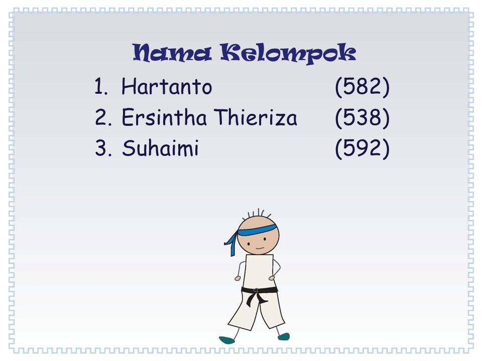 1.Hartanto (582) 2.Ersintha Thieriza (538) 3.Suhaimi (592) Nama Kelompok