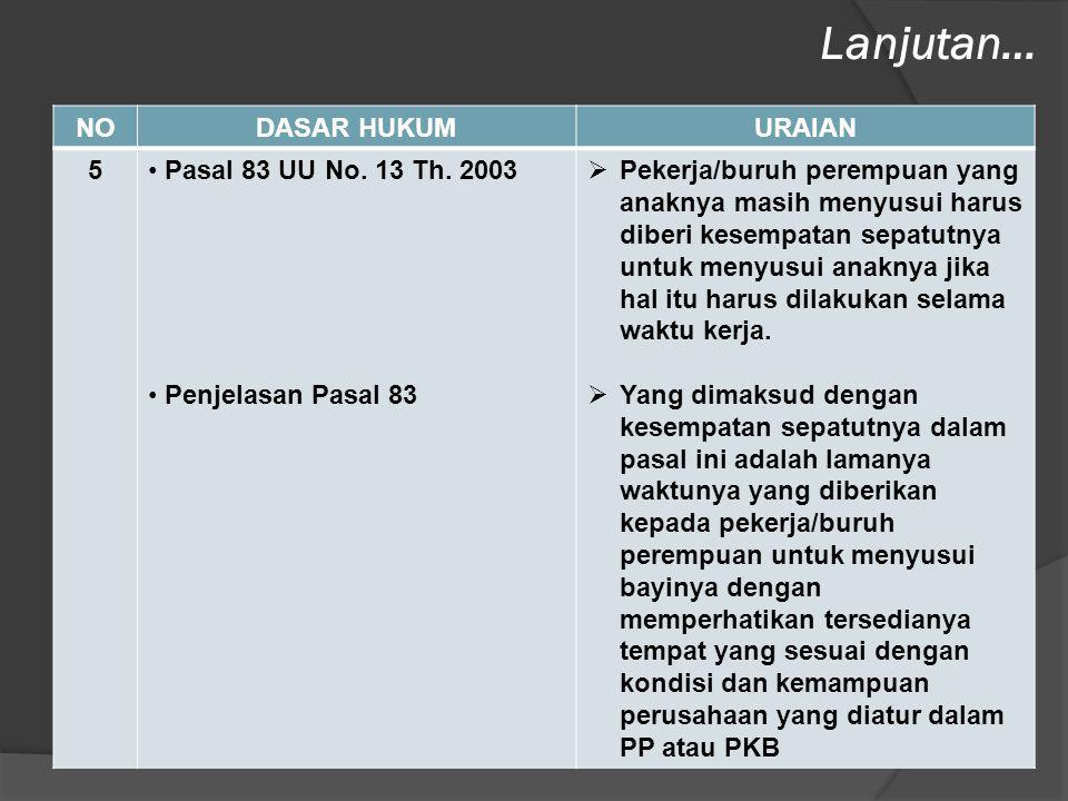 NODASAR HUKUMURAIAN 5• Pasal 83 UU No. 13 Th. 2003 • Penjelasan Pasal 83  Pekerja/buruh perempuan yang anaknya masih menyusui harus diberi kesempatan