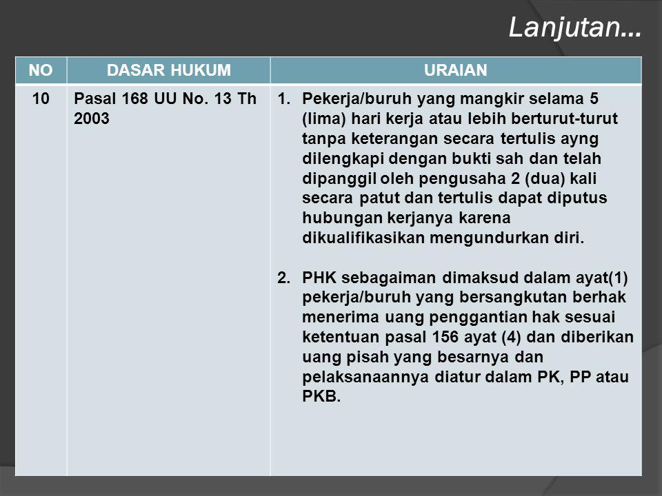 NODASAR HUKUMURAIAN 10Pasal 168 UU No. 13 Th 2003 1.Pekerja/buruh yang mangkir selama 5 (lima) hari kerja atau lebih berturut-turut tanpa keterangan s