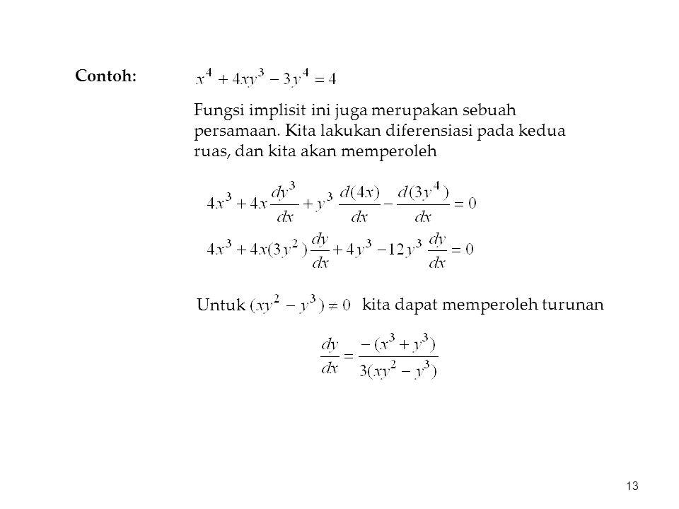 Fungsi implisit ini juga merupakan sebuah persamaan.