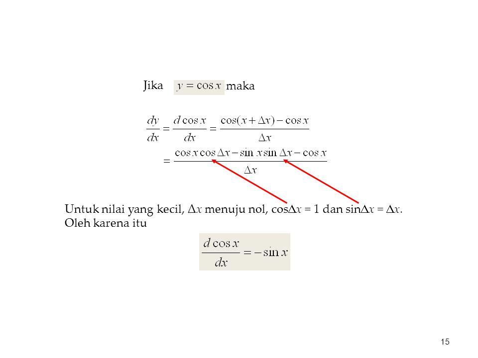 maka Jika Untuk nilai yang kecil, Δx menuju nol, cos  x = 1 dan sin  x =  x. Oleh karena itu 15