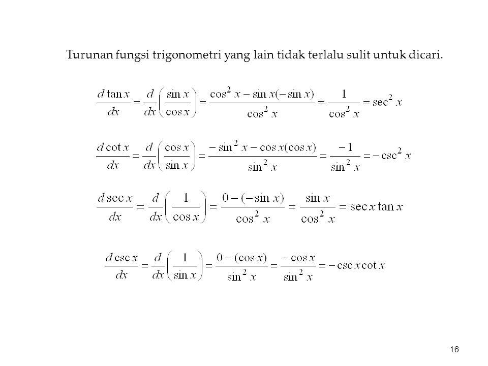 Turunan fungsi trigonometri yang lain tidak terlalu sulit untuk dicari. 16