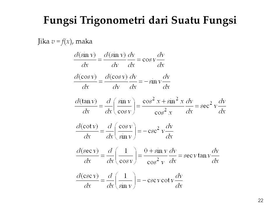 Jika v = f(x), maka 22 Fungsi Trigonometri dari Suatu Fungsi