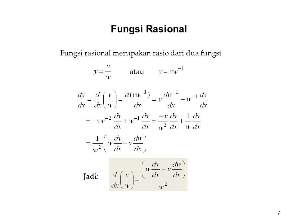 Fungsi rasional merupakan rasio dari dua fungsi atau Jadi: 7 Fungsi Rasional