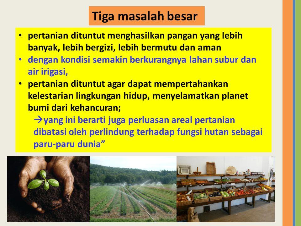• pertanian dituntut menghasilkan pangan yang lebih banyak, lebih bergizi, lebih bermutu dan aman • dengan kondisi semakin berkurangnya lahan subur da