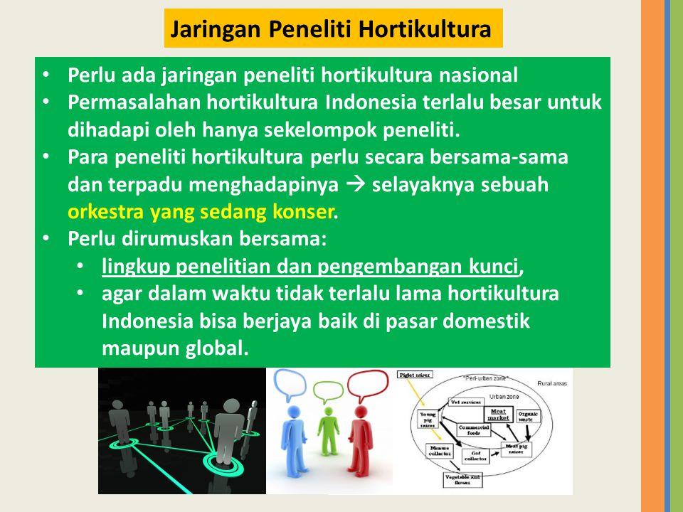 • Perlu ada jaringan peneliti hortikultura nasional • Permasalahan hortikultura Indonesia terlalu besar untuk dihadapi oleh hanya sekelompok peneliti.