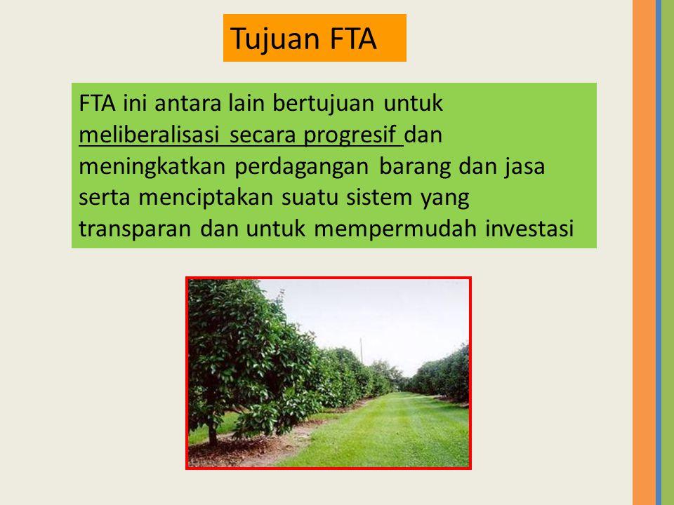 FTA ini antara lain bertujuan untuk meliberalisasi secara progresif dan meningkatkan perdagangan barang dan jasa serta menciptakan suatu sistem yang t