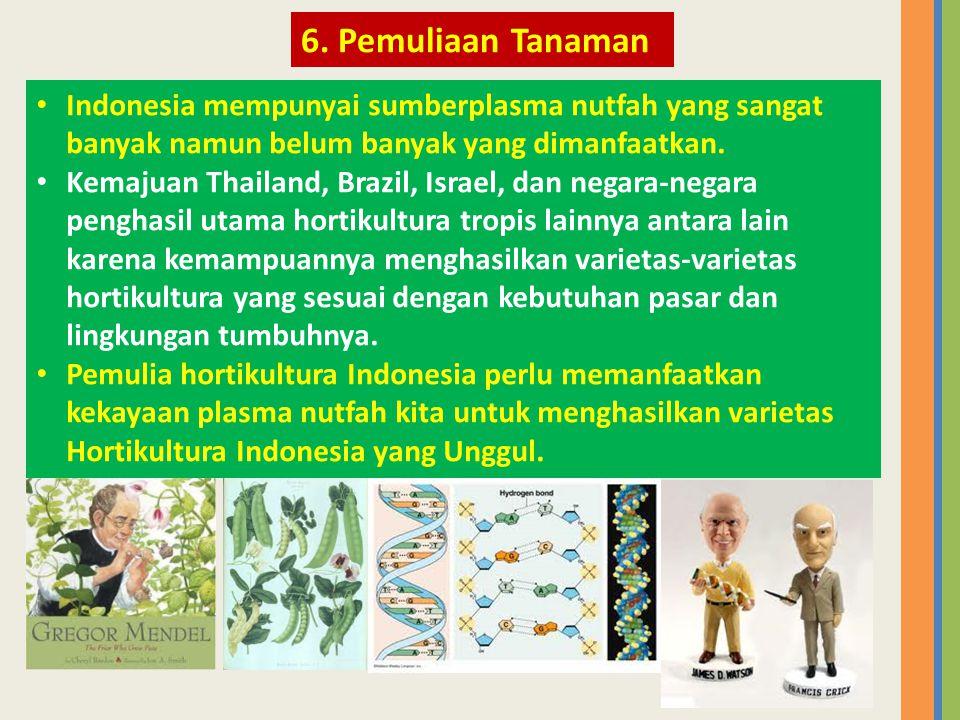 • Indonesia mempunyai sumberplasma nutfah yang sangat banyak namun belum banyak yang dimanfaatkan. • Kemajuan Thailand, Brazil, Israel, dan negara-neg
