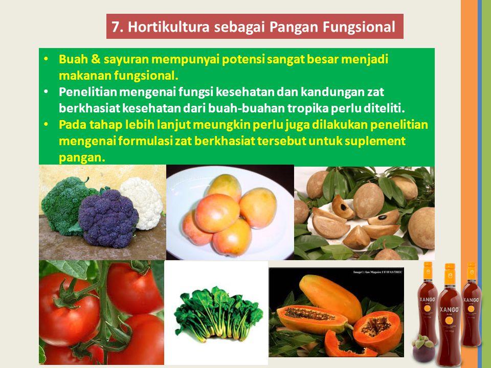 • Buah & sayuran mempunyai potensi sangat besar menjadi makanan fungsional. • Penelitian mengenai fungsi kesehatan dan kandungan zat berkhasiat keseha