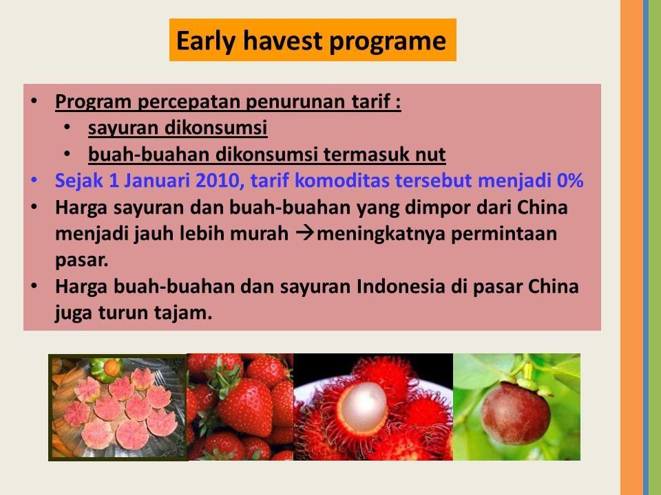 • Program percepatan penurunan tarif : • sayuran dikonsumsi • buah-buahan dikonsumsi termasuk nut • Sejak 1 Januari 2010, tarif komoditas tersebut men