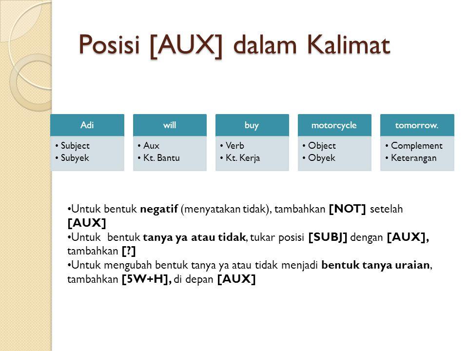 Posisi [AUX] dalam Kalimat Adi •Subject •Subyek will •Aux •Kt.