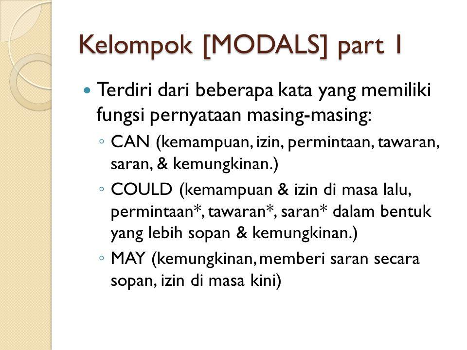 Kelompok [MODALS] part 1  Terdiri dari beberapa kata yang memiliki fungsi pernyataan masing-masing: ◦ CAN (kemampuan, izin, permintaan, tawaran, sara