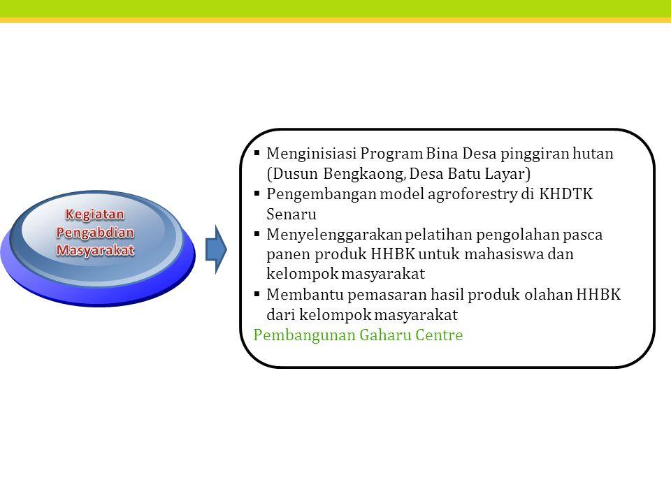  Menginisiasi Program Bina Desa pinggiran hutan (Dusun Bengkaong, Desa Batu Layar)  Pengembangan model agroforestry di KHDTK Senaru  Menyelenggarak
