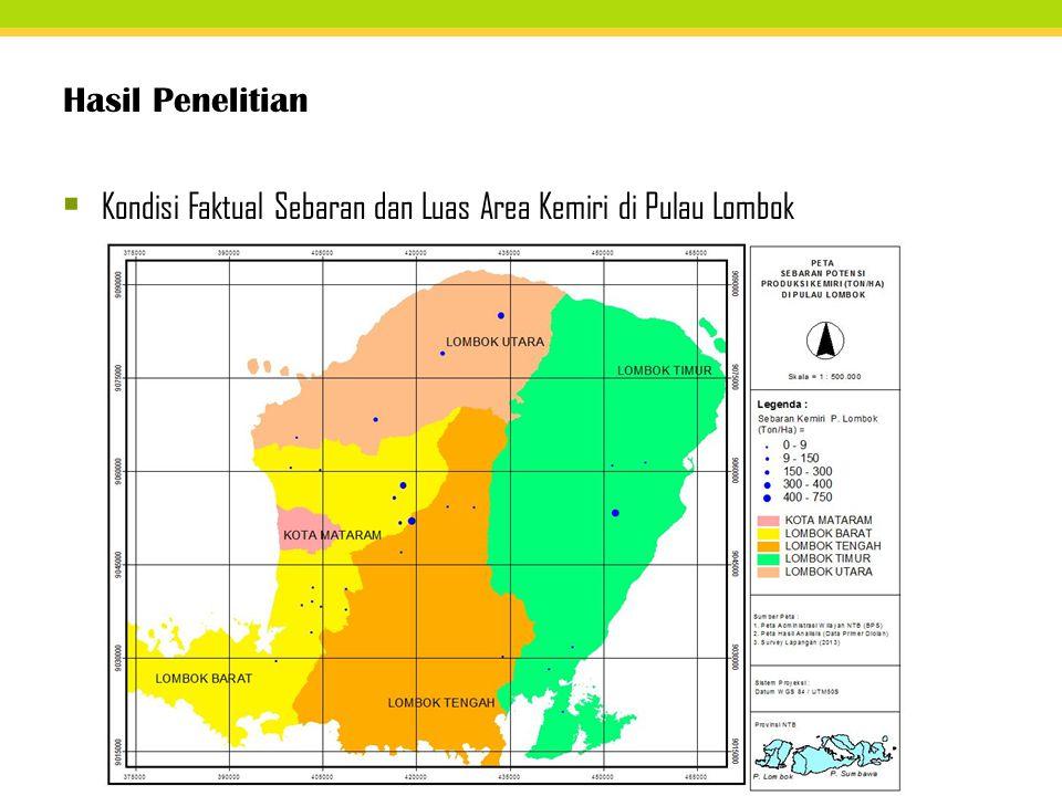 Hasil Penelitian  Kondisi Faktual Sebaran dan Luas Area Kemiri di Pulau Lombok