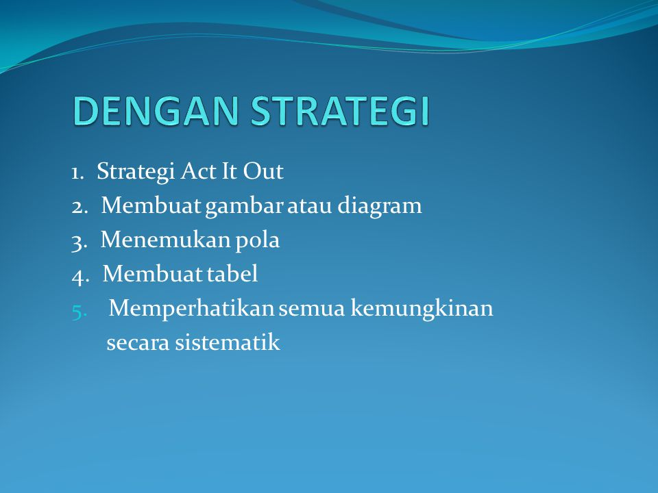 1.Strategi Act It Out 2. Membuat gambar atau diagram 3.