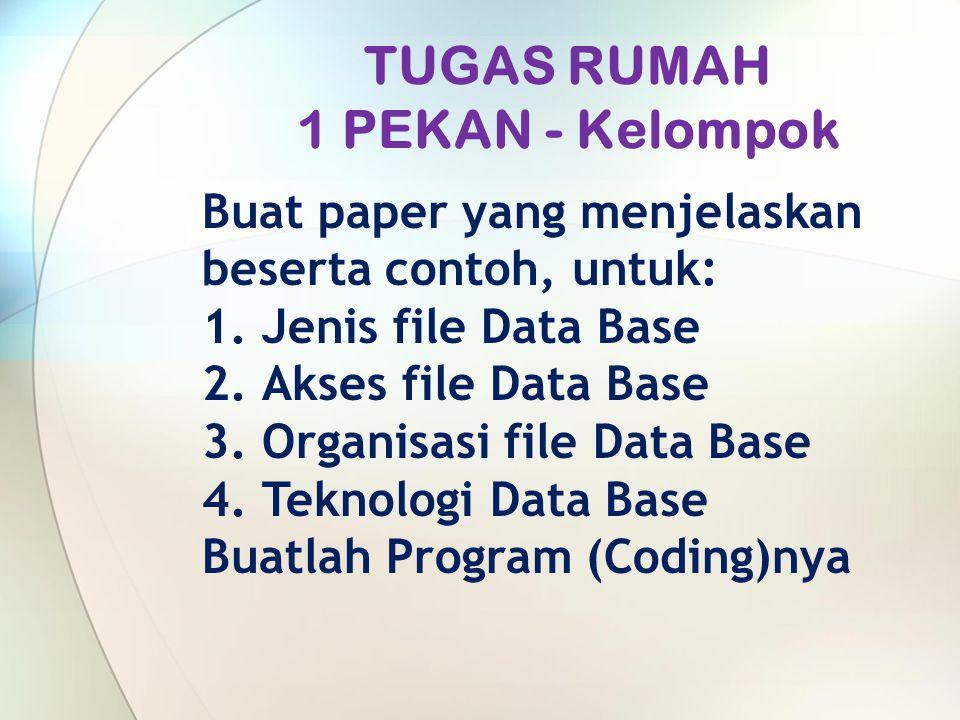 TUGAS RUMAH 1 PEKAN - Kelompok Buat paper yang menjelaskan beserta contoh, untuk: 1.Jenis file Data Base 2.Akses file Data Base 3.Organisasi file Data