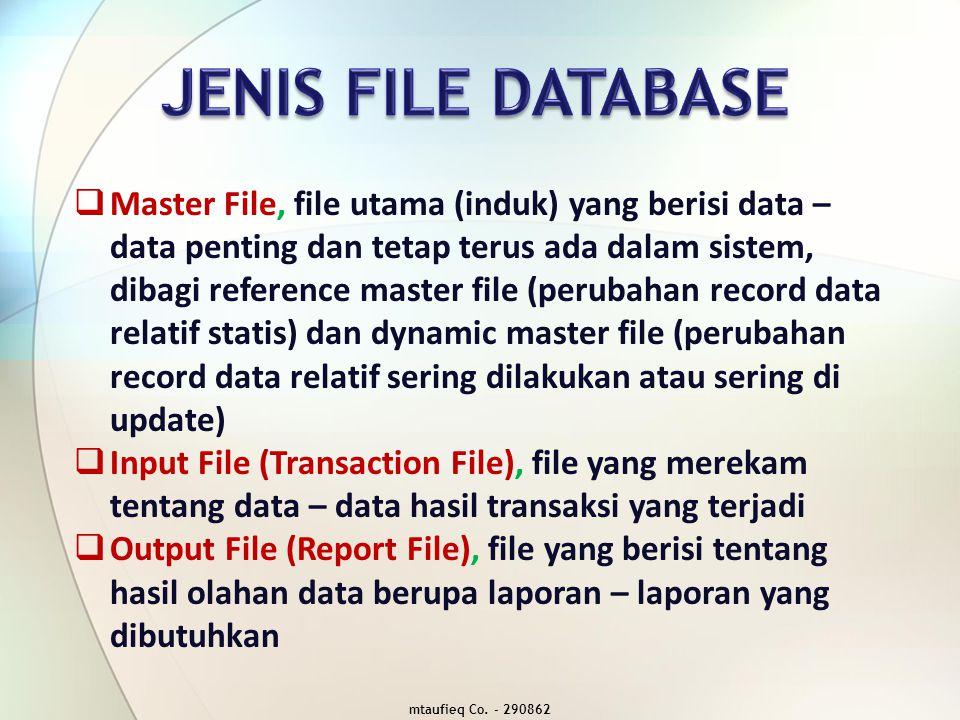  History File (Archieval file), file yang berisi data – data masa lalu yang sudah tidak aktif, namun masih bisa dimanfaatkan  Backup File, file yang berisi data – data cadangan atau salinan untuk pelindung apabila file database rusak/hilang  Working File (Temporary / Scratch File), file yang berisi data – data sementara melalui suatu pemrograman untuk mengefisienkan dalam pemanfaatn memori