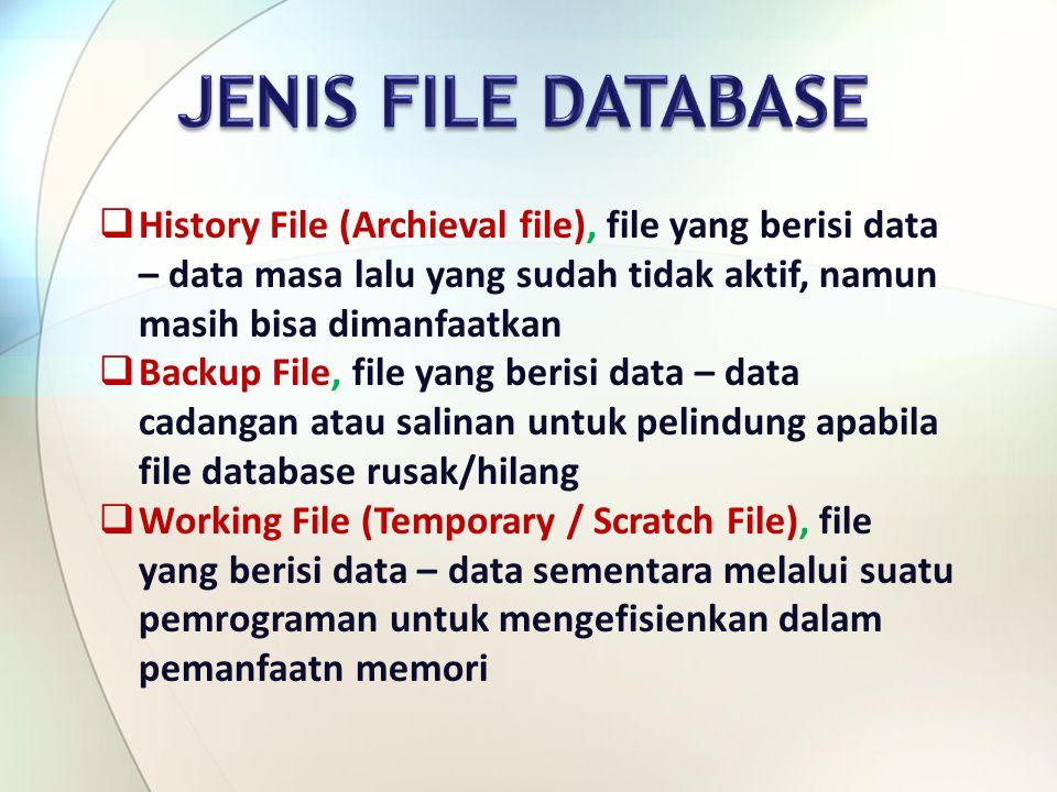  History File (Archieval file), file yang berisi data – data masa lalu yang sudah tidak aktif, namun masih bisa dimanfaatkan  Backup File, file yang