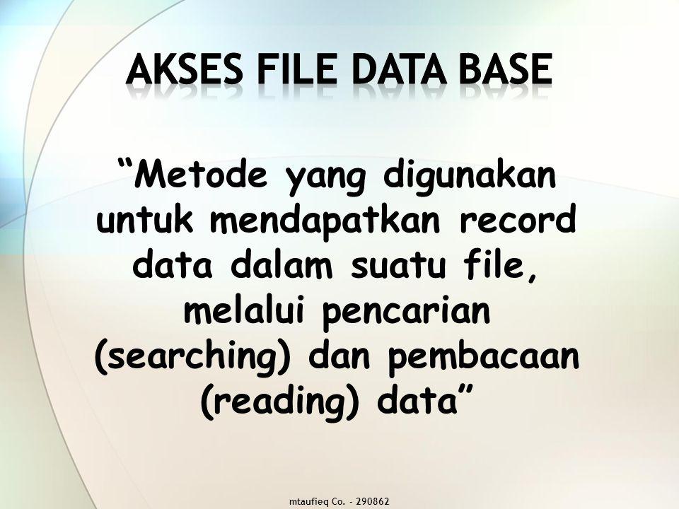 1.Sequential Access, mengakses record data yang diawali dari record pertama kemudian dibaca secara urut sampai pada record yang diinginkan 2.Random Access / Direct Access, mengakses record data yang dilakukan secara langsung pada posisi record berada (melalui address record yang telah ditentukan) Metode AKSES File Database