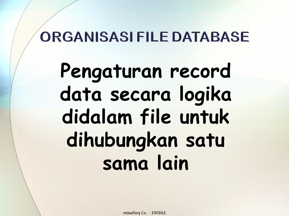  Sequential File, file yang diorganisasikan secara sekuensial (sequential organization) dengan proses pengaksesan secara sekuensial (sequential access)  Indexed Sequential File (ISAM = Indexed Sequential Access Method), file yang diorganisasikan secara sekuensial dengan proses pengaksesan secara langsung (Direct Access)  Direct Access File (Direct Address File), file yang diorganisasikan secara langsung (direct organization) dengan proses pengaksesan secara langsung (direct access)