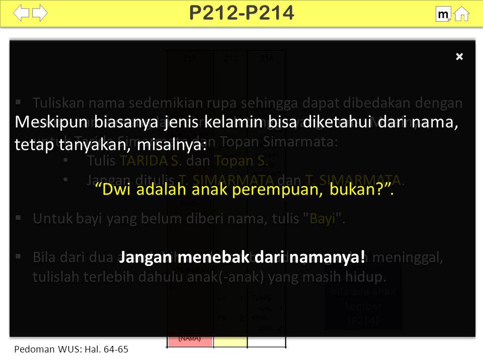 Contoh pengisian bila ada anak kembar (P214) Contoh pengisian bila ada anak kembar (P214)  Tuliskan nama sedemikian rupa sehingga dapat dibedakan dengan nama-nama orang lain di rumah tangga yang sama.