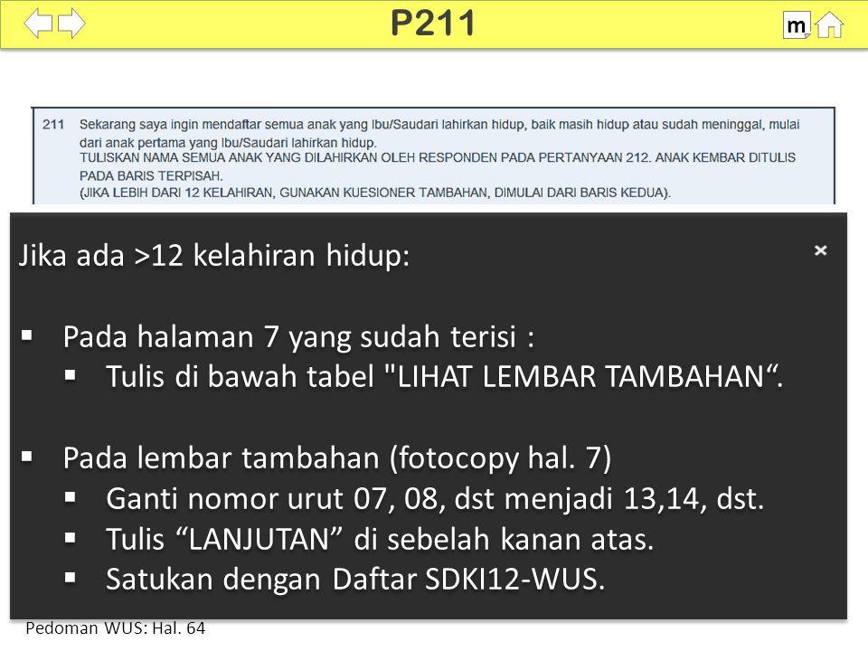 100% SDKI 2012 P211 m Jika ada >12 kelahiran hidup:  Pada halaman 7 yang sudah terisi :  Tulis di bawah tabel LIHAT LEMBAR TAMBAHAN .