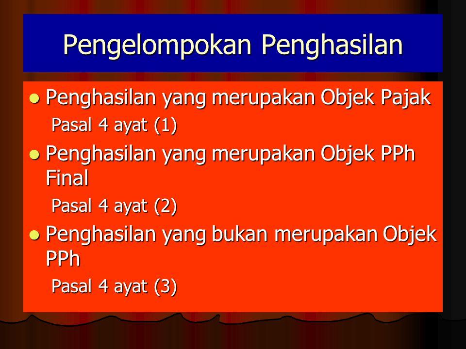 Pengelompokan Penghasilan  Penghasilan yang merupakan Objek Pajak Pasal 4 ayat (1)  Penghasilan yang merupakan Objek PPh Final Pasal 4 ayat (2)  Penghasilan yang bukan merupakan Objek PPh Pasal 4 ayat (3)