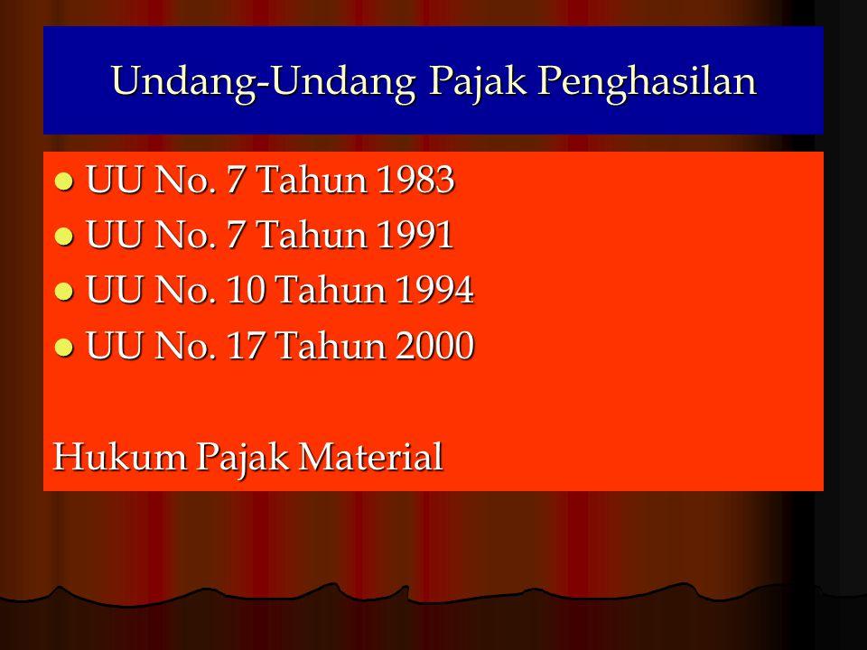 Undang-Undang Pajak Penghasilan  UU No.7 Tahun 1983  UU No.