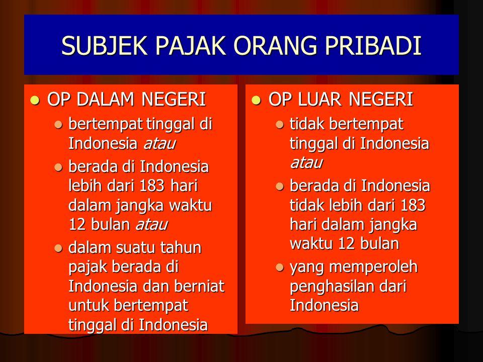 SUBJEK PAJAK ORANG PRIBADI  OP DALAM NEGERI  bertempat tinggal di Indonesia atau  berada di Indonesia lebih dari 183 hari dalam jangka waktu 12 bulan atau  dalam suatu tahun pajak berada di Indonesia dan berniat untuk bertempat tinggal di Indonesia  OP LUAR NEGERI  tidak bertempat tinggal di Indonesia atau  berada di Indonesia tidak lebih dari 183 hari dalam jangka waktu 12 bulan  yang memperoleh penghasilan dari Indonesia
