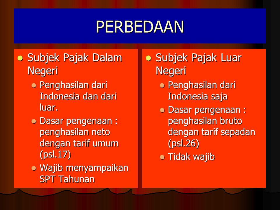 PERBEDAAN  Subjek Pajak Dalam Negeri  Penghasilan dari Indonesia dan dari luar.