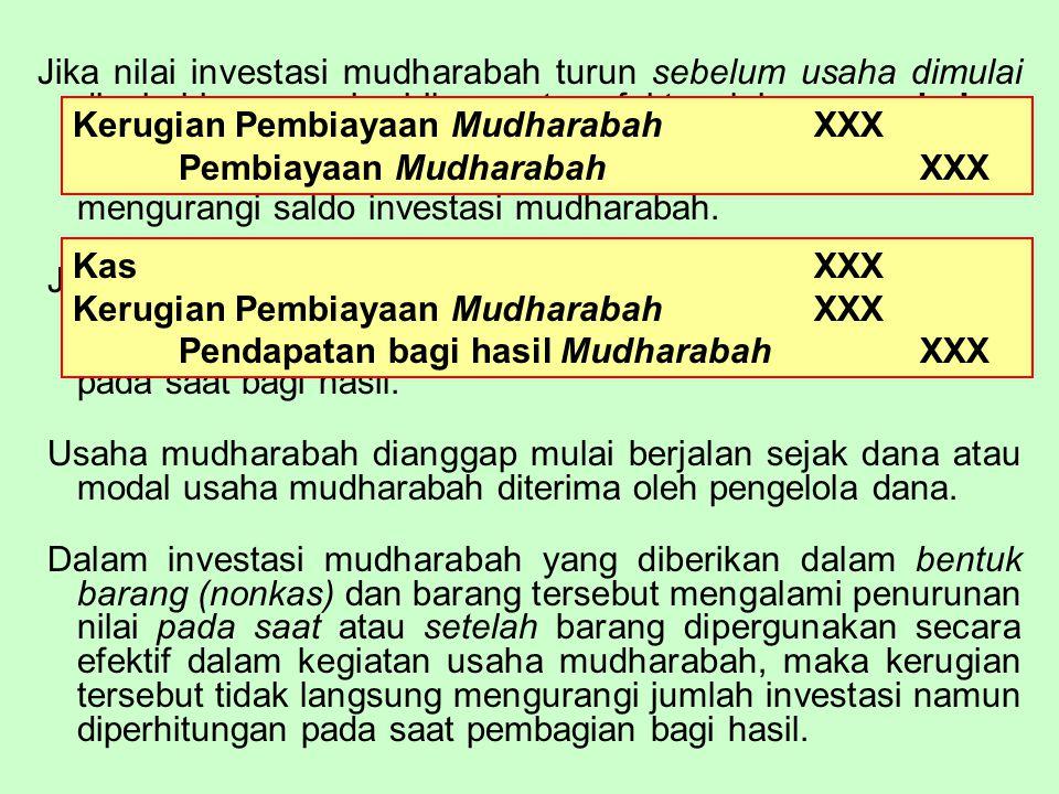 Jika nilai investasi mudharabah turun sebelum usaha dimulai disebabkan rusak, hilang atau faktor lain yang bukan kelalaian atau kesalahan pihak pengelola dana, maka penurunan nilai tersebut diakui sebagai KERUGIAN dan mengurangi saldo investasi mudharabah.