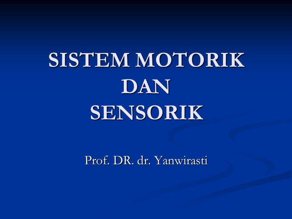SISTIM SOMATO MOTORIK Terdiri atas :  Traktus Corticospinalis dan cortico bulbaris  Serabut–serabut yang berasal dari ganglia basalis  Sistim Descenden subcortical  Serabut-serabut yang berasal dari cerebellum