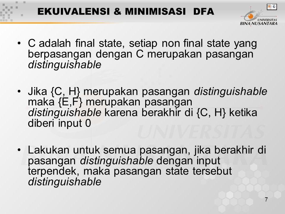7 •C adalah final state, setiap non final state yang berpasangan dengan C merupakan pasangan distinguishable •Jika {C, H} merupakan pasangan distingui