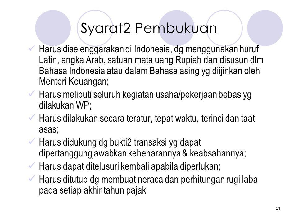 21 Syarat2 Pembukuan  Harus diselenggarakan di Indonesia, dg menggunakan huruf Latin, angka Arab, satuan mata uang Rupiah dan disusun dlm Bahasa Indo