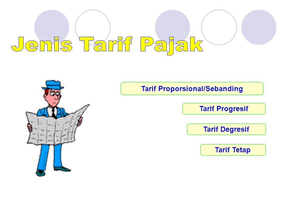 Tarif Proporsional/Sebanding Tarif Tetap Tarif Progresif Tarif Degresif