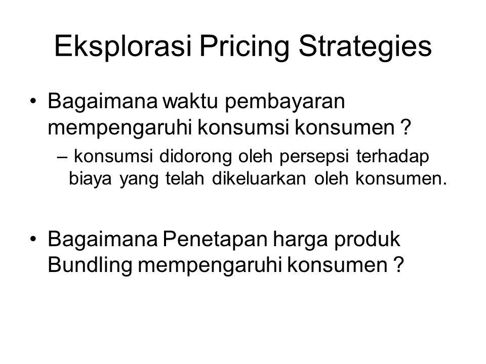 Eksplorasi Pricing Strategies •Bagaimana waktu pembayaran mempengaruhi konsumsi konsumen ? – konsumsi didorong oleh persepsi terhadap biaya yang telah