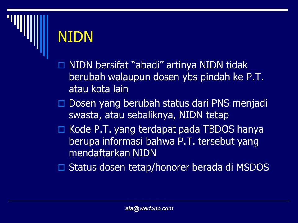 sta@wartono.com NIDN  NIDN bersifat abadi artinya NIDN tidak berubah walaupun dosen ybs pindah ke P.T.