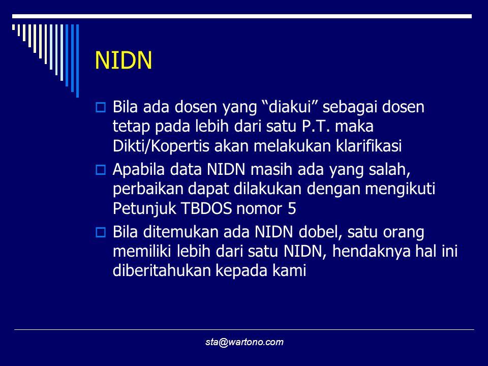 sta@wartono.com NIDN  Bila ada dosen yang diakui sebagai dosen tetap pada lebih dari satu P.T.