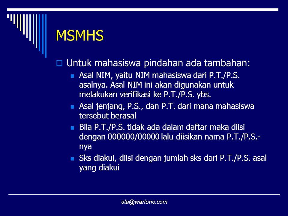 sta@wartono.com MSMHS  Untuk mahasiswa pindahan ada tambahan:  Asal NIM, yaitu NIM mahasiswa dari P.T./P.S.
