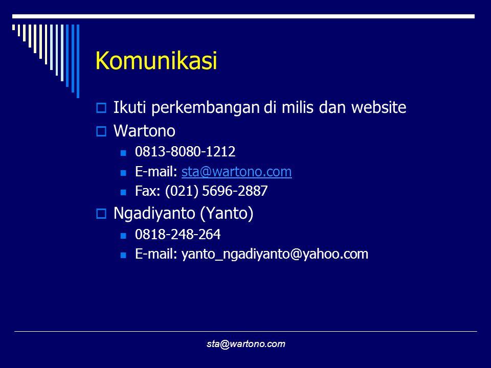 sta@wartono.com Komunikasi  Ikuti perkembangan di milis dan website  Wartono  0813-8080-1212  E-mail: sta@wartono.comsta@wartono.com  Fax: (021) 5696-2887  Ngadiyanto (Yanto)  0818-248-264  E-mail: yanto_ngadiyanto@yahoo.com