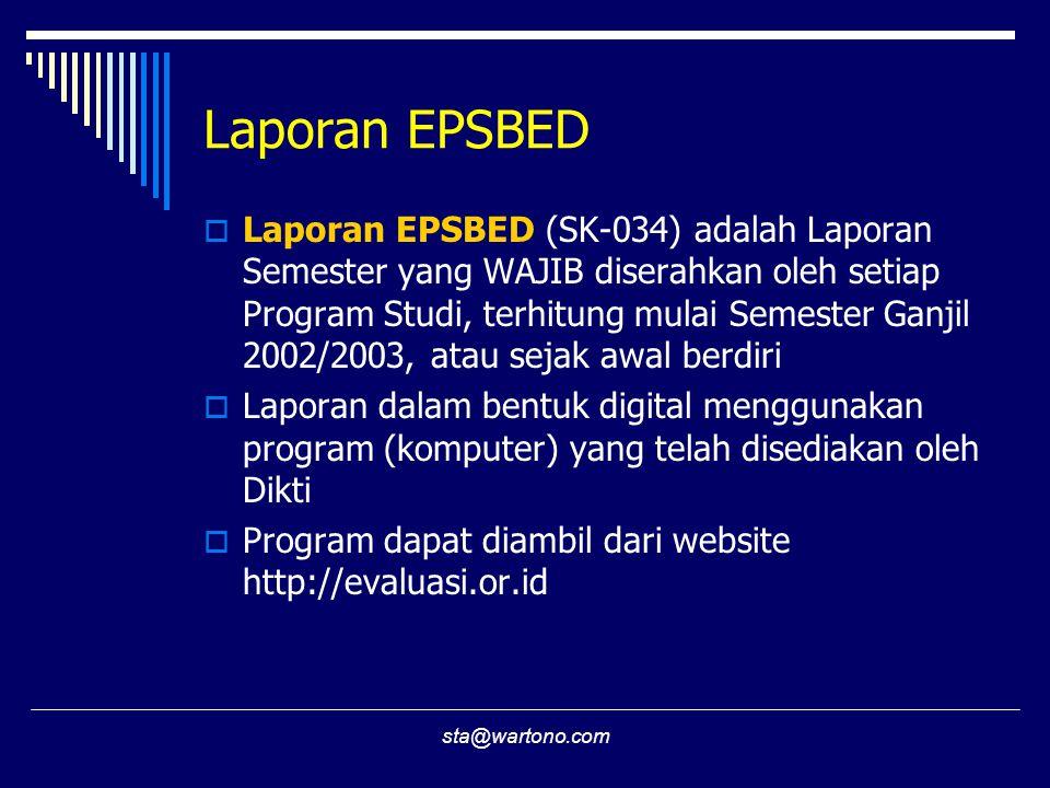 sta@wartono.com Laporan EPSBED  Laporan EPSBED (SK-034) adalah Laporan Semester yang WAJIB diserahkan oleh setiap Program Studi, terhitung mulai Semester Ganjil 2002/2003, atau sejak awal berdiri  Laporan dalam bentuk digital menggunakan program (komputer) yang telah disediakan oleh Dikti  Program dapat diambil dari website http://evaluasi.or.id