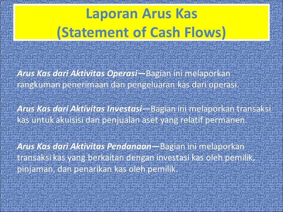 Laporan Arus Kas (Statement of Cash Flows) Arus Kas dari Aktivitas Operasi—Bagian ini melaporkan rangkuman penerimaan dan pengeluaran kas dari operasi.
