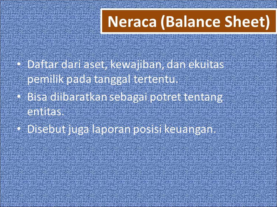 Neraca (Balance Sheet) • Daftar dari aset, kewajiban, dan ekuitas pemilik pada tanggal tertentu.