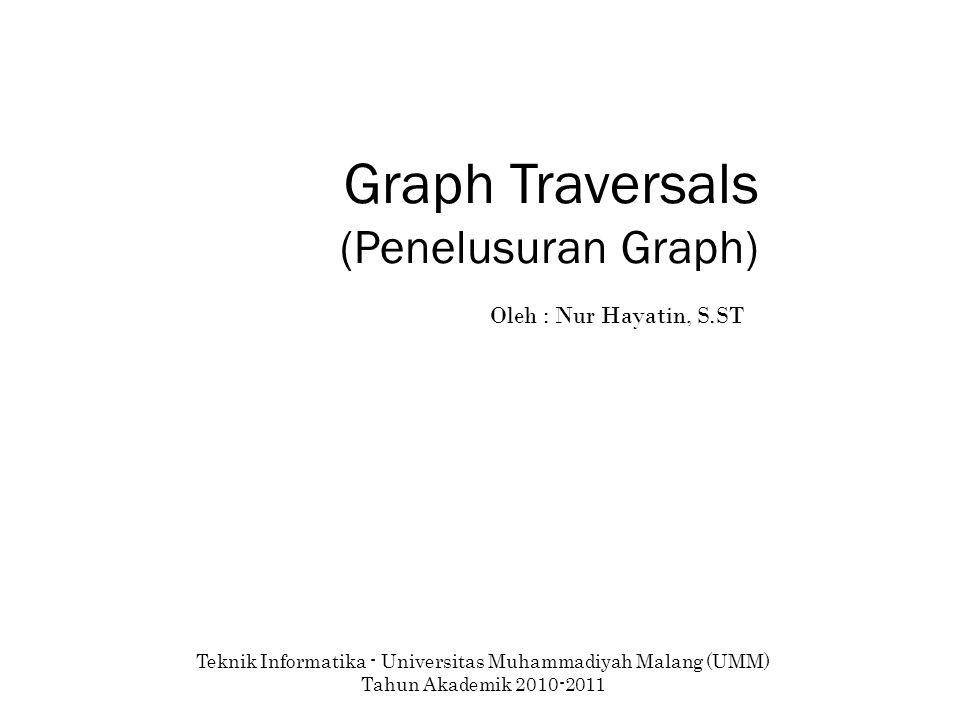 Graph Traversals (Penelusuran Graph) Teknik Informatika - Universitas Muhammadiyah Malang (UMM) Tahun Akademik 2010-2011 Oleh : Nur Hayatin, S.ST