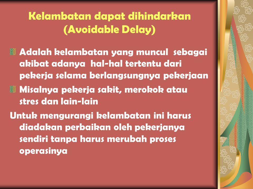 Kelambatan Tak terhindarkan (Unavoidable Delay) •Adalah kelambatan yang diakibatkan hal-hal yang tak dapat dihindari dan di luar lkemampuan pekerja Co