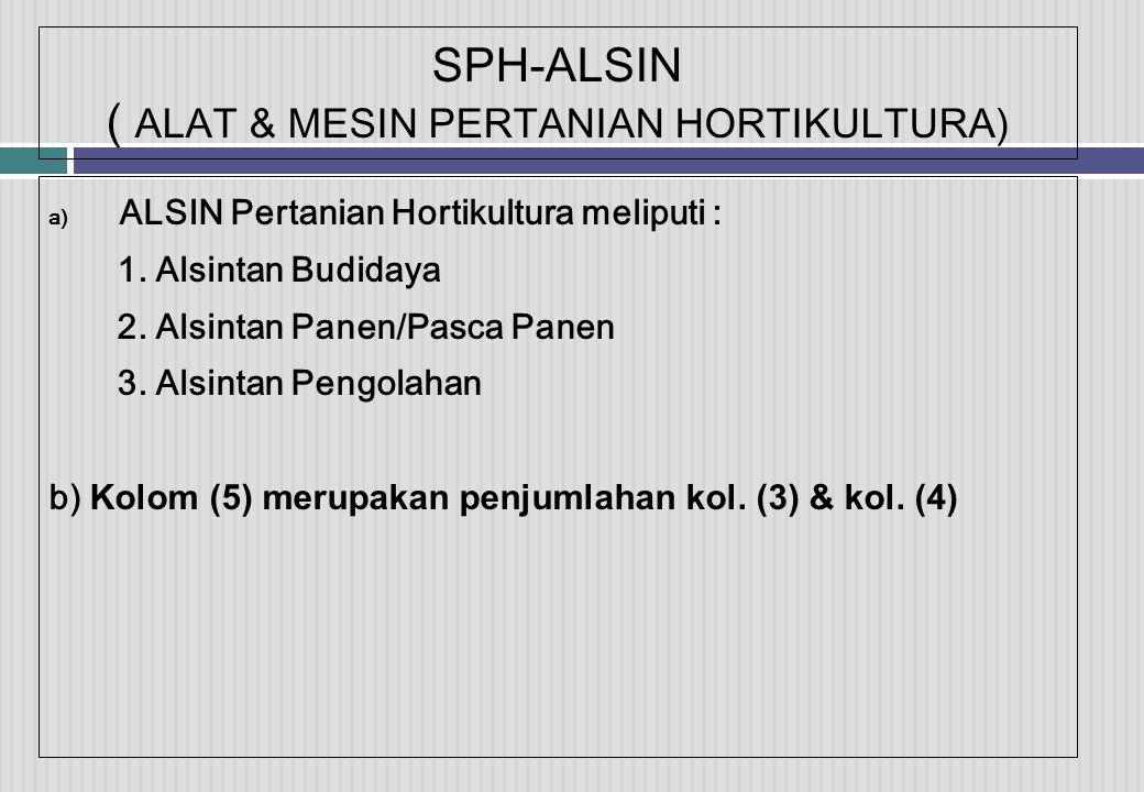 SPH-ALSIN ( ALAT & MESIN PERTANIAN HORTIKULTURA) a) ALSIN Pertanian Hortikultura meliputi : 1.