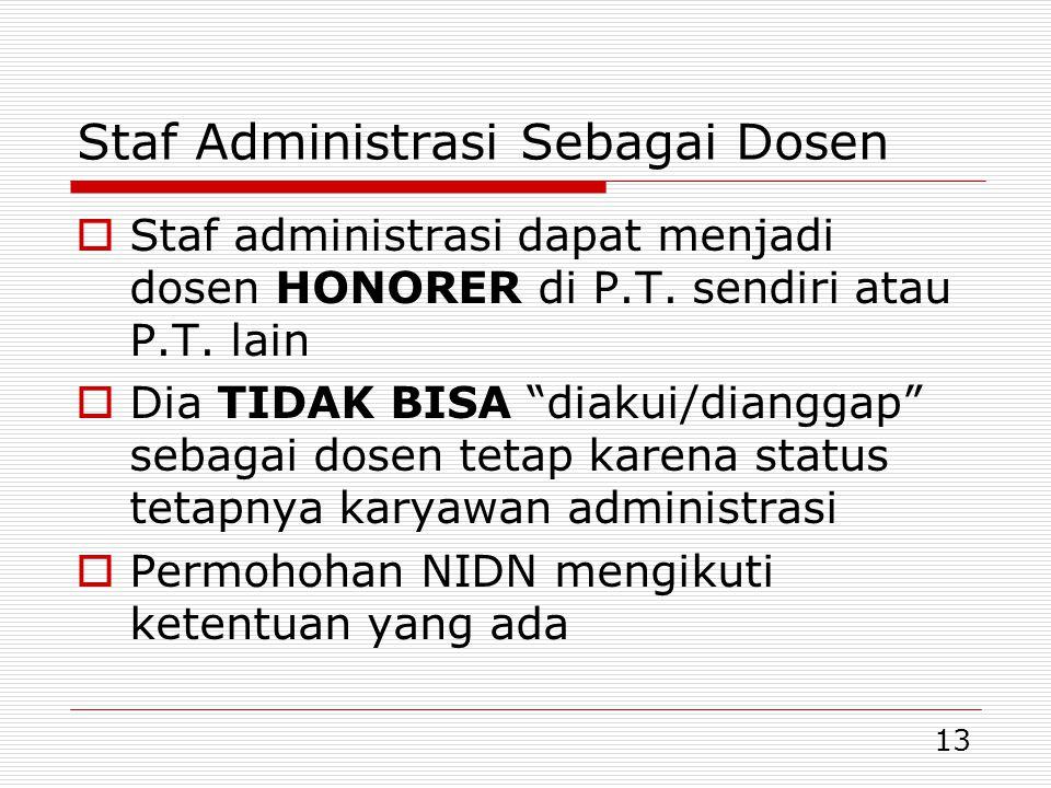 13 Staf Administrasi Sebagai Dosen  Staf administrasi dapat menjadi dosen HONORER di P.T.